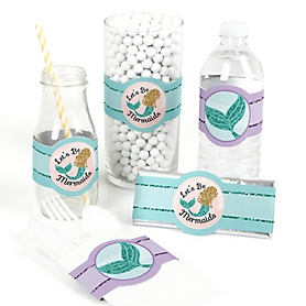 Let's Be Mermaids - DIY Baby Shower or Birthday Party Wrappers - 15 ct
