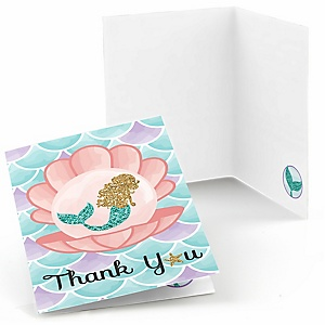 Let's Be Mermaids - Baby Shower or Birthday Party Thank You Cards - 8 ct