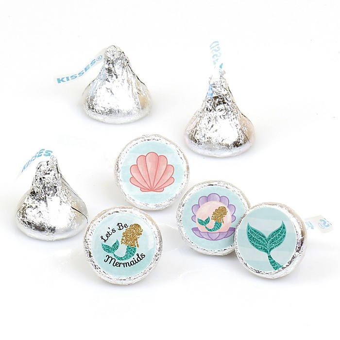Let's Be Mermaids - Baby Shower or Birthday Party Round Candy Labels Party Favors - Fits Hershey's Kisses - 108 ct