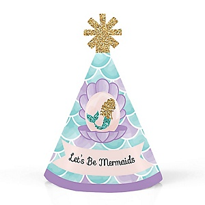 Let's Be Mermaids - Personalized Mermaid Mini Cone Birthday Party Hats - Small Little Party Hats - Set of 10