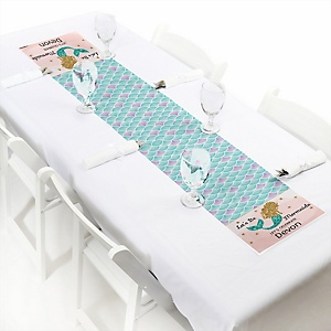 Let's Be Mermaids - Personalized Petite Baby Shower or Birthday Party Table Runner