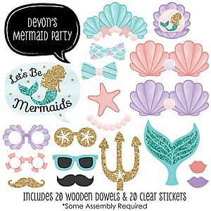 Let's Be Mermaids - 20 Piece Photo Booth Props Kit