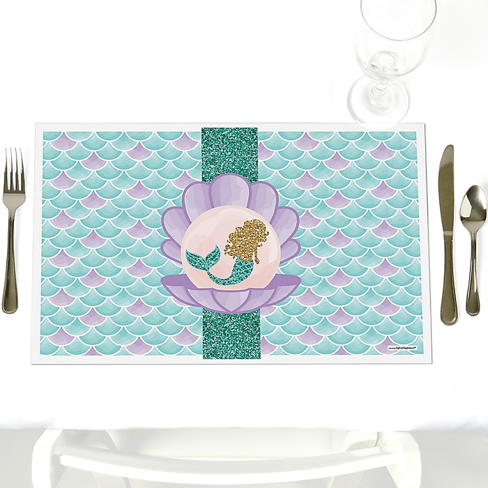Let's Be Mermaids - Party Table Decorations - Baby Shower or Birthday Party Placemats - Set of 12