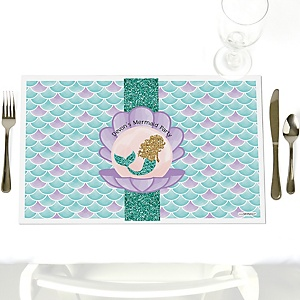 Let's Be Mermaids - Party Table Decorations - Personalized Baby Shower or Birthday Party Placemats - Set of 12