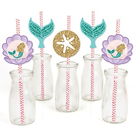 Let's Be Mermaids - Paper Straw Decor - Baby Shower or Birthday Party Striped Decorative Straws - Set of 24