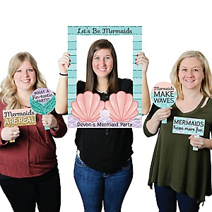 Let's Be Mermaids - Personalized Birthday Party or Baby Shower Selfie Photo Booth Picture Frame & Props - Printed on Sturdy Material