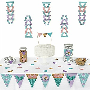 Let's Be Mermaids -  Triangle Baby Shower or Birthday Party Decoration Kit - 72 Piece