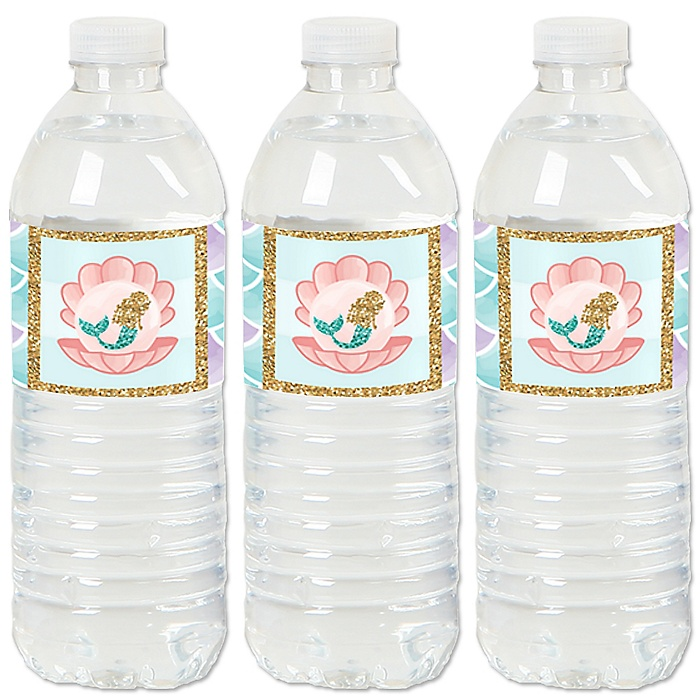 Let's Be Mermaids - Baby Shower or Birthday Party Water Bottle Sticker Labels - Set of 20
