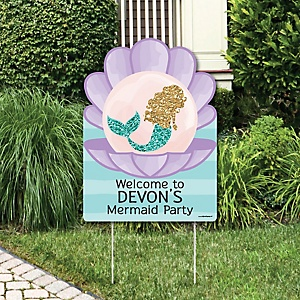 Let's Be Mermaids - Party Decorations - Birthday Party or Baby Shower Personalized Welcome Yard Sign