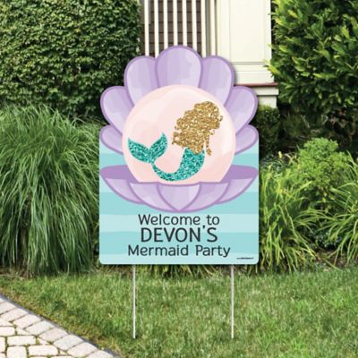 Letu0027s Be Mermaids   Party Decorations   Birthday Party Or Baby Shower  Personalized Welcome Yard Sign