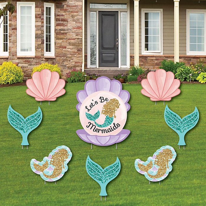 Let's Be Mermaids - Yard Sign & Outdoor Lawn Decorations - Baby Shower or Birthday Party Yard Signs - Set of 8