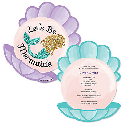 Lets Be Mermaids Shaped Baby Shower Invitations Set Of 12