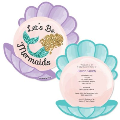 Letu0027s Be Mermaids   Shaped Baby Shower Invitations