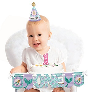 Let's Be Mermaids 1st Birthday - First Birthday Girl Smash Cake Decorating Kit - High Chair Decorations