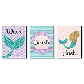 Let's Be Mermaids - Kids Bathroom Rules Wall Art - 7.5 x 10 inches - Set of 3 Signs - Wash, Brush, Flush