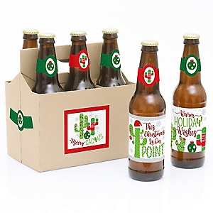 Merry Cactus - Decorations for Women and Men - 6 Christmas Cactus Party Beer Bottle Label Stickers and 1 Carrier