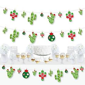 Merry Cactus - Christmas Cactus Party DIY Decorations - Clothespin Garland Banner - 44 Pieces