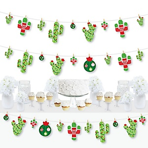 Merry Cactus - Christmas Cactus Party DIY Decorations - Clothespin Garland Banner - 44 Pieces