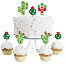 Merry Cactus - Dessert Cupcake Toppers - Christmas Cactus Party Clear Treat Picks - Set of 24