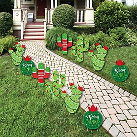 Merry Cactus - Cactus Lawn Decorations - Outdoor Christmas Cactus Party Yard Decorations - 10 Piece