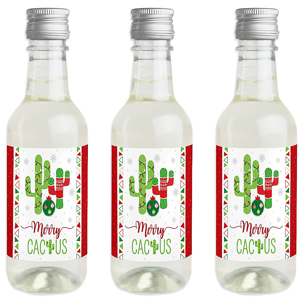 Merry Cactus Mini Wine And Champagne Bottle Label Stickers