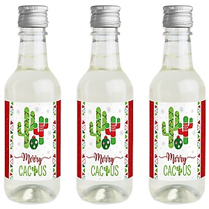 Merry Cactus - Mini Wine and Champagne Bottle Label Stickers - Christmas Cactus Party Favor Gift - For Women and Men - Set of 16