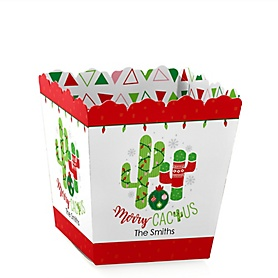 Merry Cactus - Party Mini Favor Boxes - Personalized Christmas Cactus Party Treat Candy Boxes - Set of 12