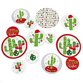 Merry Cactus - Christmas Cactus Party Giant Circle Confetti - Party Decorations - Large Confetti 27 Count