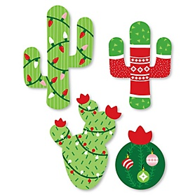 Merry Cactus - DIY Shaped Christmas Cactus Party Paper Cut-Outs - 24 ct