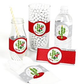 Merry Cactus - DIY Party Supplies - Christmas Cactus Party DIY Wrapper Favors & Decorations - Set of 15