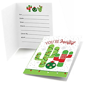 Merry Cactus - Fill In Christmas Cactus Party Invitations  - 8 ct