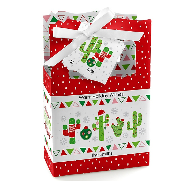 Merry Cactus – Personalized Christmas Cactus Party Favor Boxes - Set of 12 & Gift Bags - 12 Count