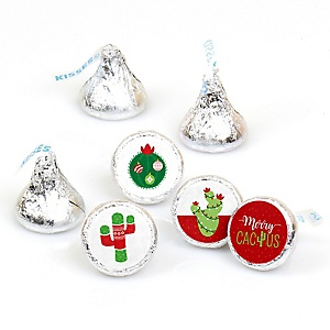 Merry Cactus - Round Candy Labels Christmas Cactus Party Favors - Fits Hershey's Kisses - 108 ct