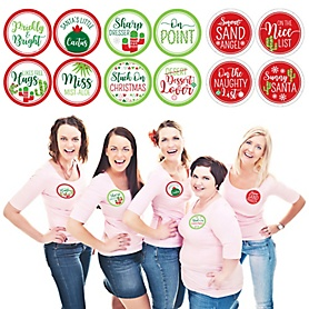 Merry Cactus - Christmas Cactus Party Funny Name Tags - Party Badges Sticker Set of 12