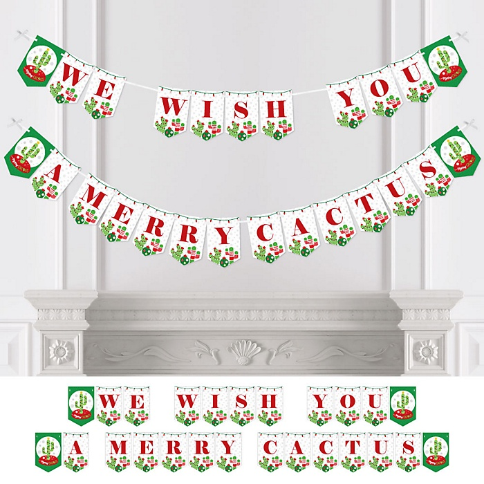 Merry Cactus - Personalized Christmas Cactus Party Bunting Banner & Decorations