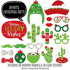 Merry Cactus - 20 Piece Christmas Cactus Party Photo Booth Props Kit