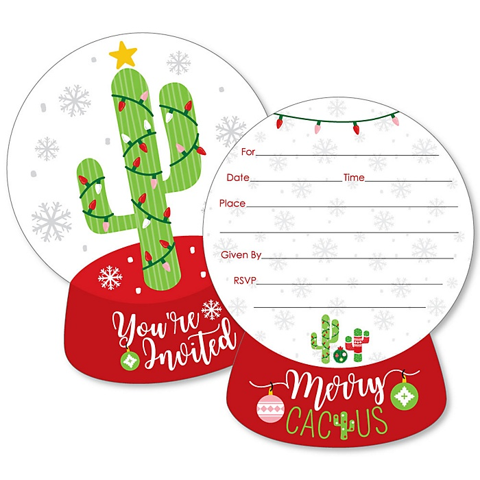 Merry Cactus - Shaped Fill-In Invitations - Christmas Cactus Party Invitation Cards with Envelopes - Set of 12