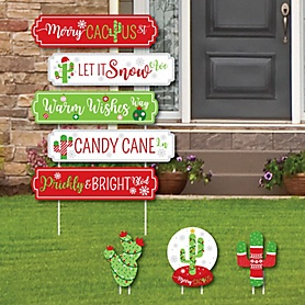 Merry Cactus Street Sign Cutouts - Christmas Cactus Party Yard Signs and Decorations - Set of 8