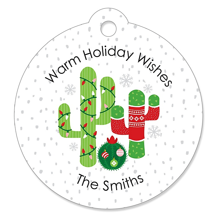 Merry Cactus - Personalized Christmas Cactus Party Favor Gift Tags - 20 ct