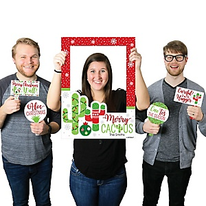 Merry Cactus - Personalized Christams Cactus Party Selfie Photo Booth Picture Frame & Props - Printed on Sturdy Material