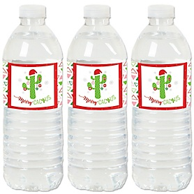 Merry Cactus - Christmas Cactus Party Water Bottle Sticker Labels - Set of 20