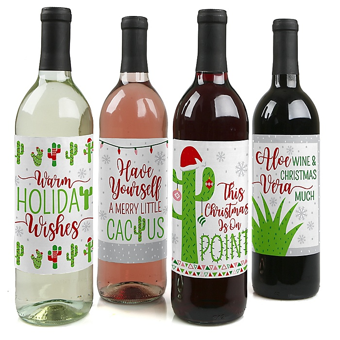 Merry Cactus - Christmas Cactus Party Decorations for Women and Men - Wine Bottle Label Stickers - Set of 4