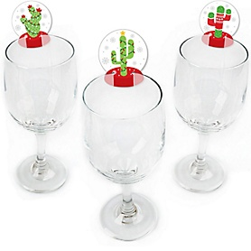 Merry Cactus - Shaped Christams Cactus Party Wine Glass Markers - Set of 24