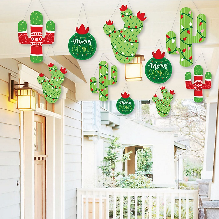 Hanging Merry Cactus - Outdoor Christmas Cactus Party Hanging Porch & Tree Yard Decorations - 10 Pieces