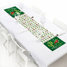 """Merry Cactus - Personalized Petite Christmas Cactus Party Table Runner - 12"""" x 60"""""""