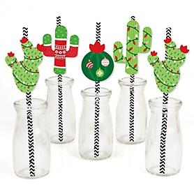 Merry Cactus - Paper Straw Decor - Christmas Cactus Party Striped Decorative Straws - Set of 24