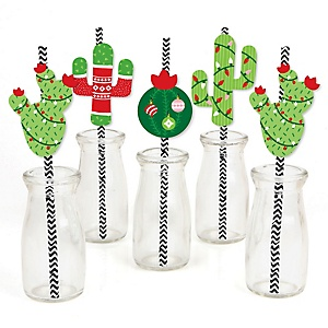 Merry Cactus - Paper Straw Decor - Christmas Cactus Party Striped Decorative Straws - Set of 24