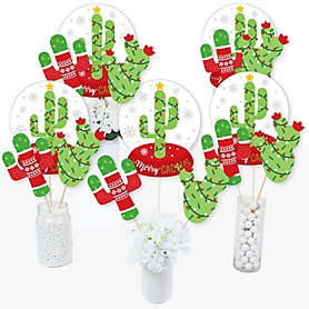 Merry Cactus - Christmas Cactus Party Centerpiece Sticks - Table Toppers - Set of 15