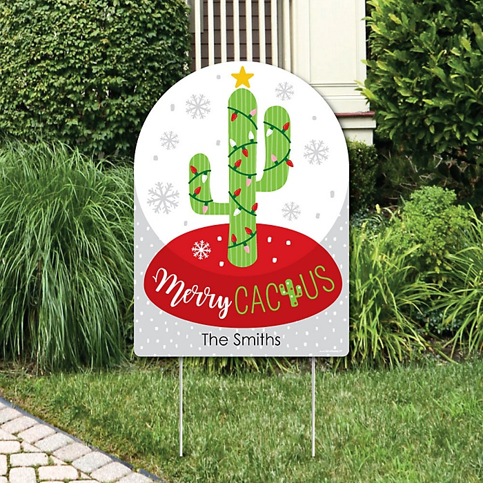 Merry Cactus - Party Decorations - Christmas Cactus Party Personalized Welcome Yard Sign
