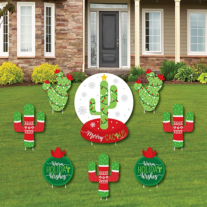 Merry Cactus - Yard Sign & Outdoor Lawn Decorations - Christams Cactus Party Yard Signs - Set of 8
